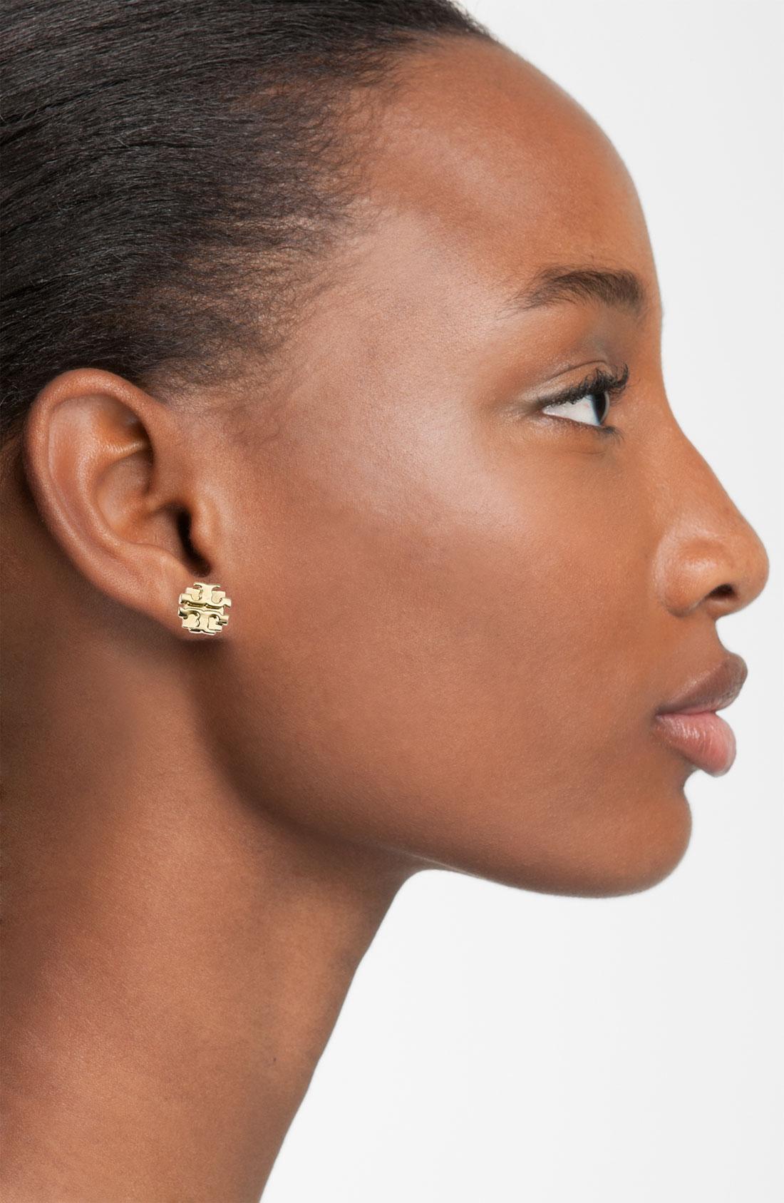 Tory Burch Logo Stud Earrings Cabochon Source Gallery