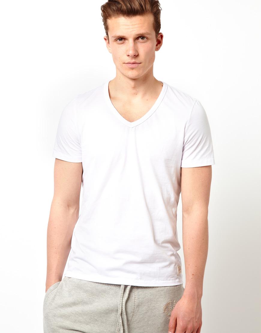 True religion tshirt v neck back print in white for men lyst for Plain t shirt model