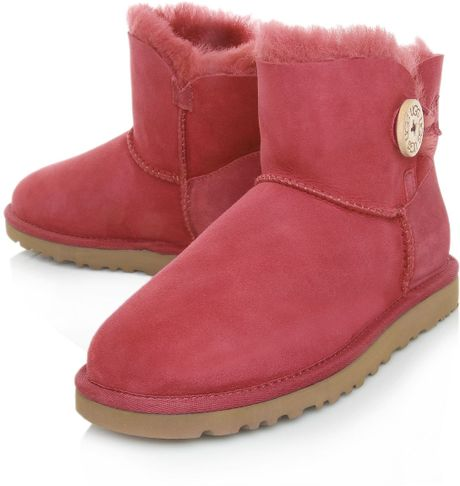 ugg mini bailey button boots in pink lyst. Black Bedroom Furniture Sets. Home Design Ideas