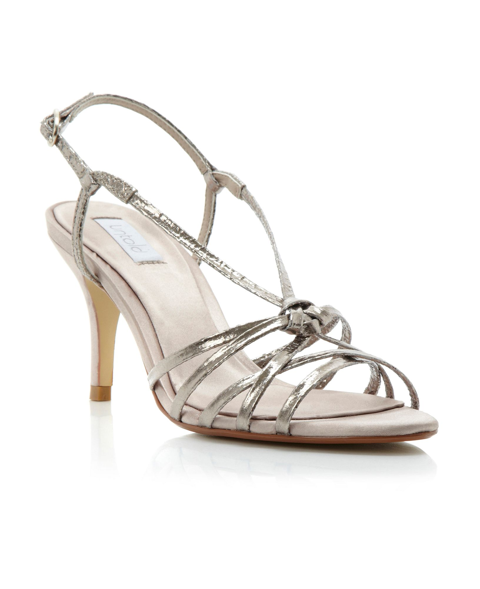 Silver Strappy Sandals Mid Heel
