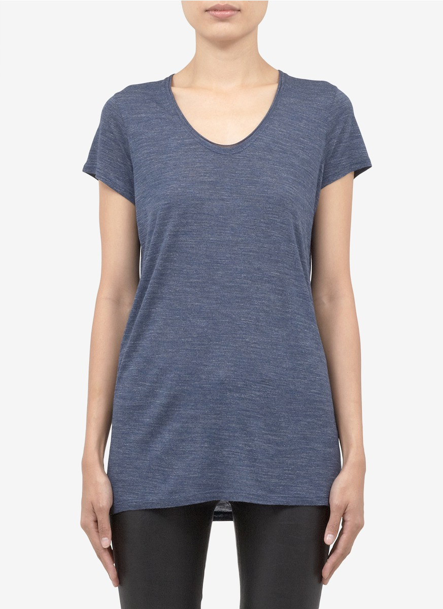 Vince scoop neck jersey t shirt in blue lyst for Vince tee shirts sale