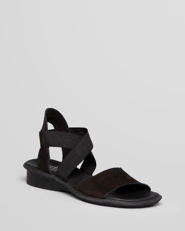 Lyst Arche Sandals Satia Elastic Flat In Black