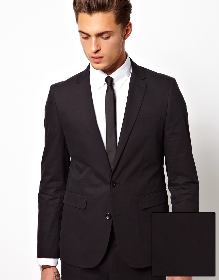 Asos Slim Fit Tuxedo Suit Jacket With Stretch in Black for Men | Lyst