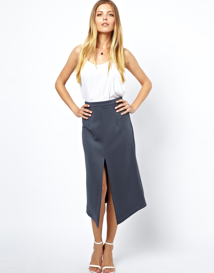 Asos Pencil Skirt with Split Front in Gray | Lyst