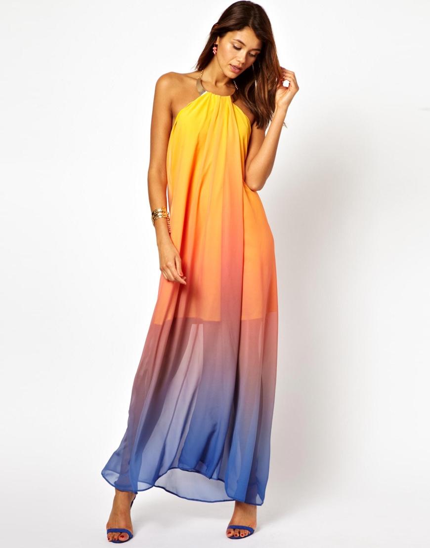 Lyst Asos Necklace Halter Rainbow Maxi Dress In Yellow