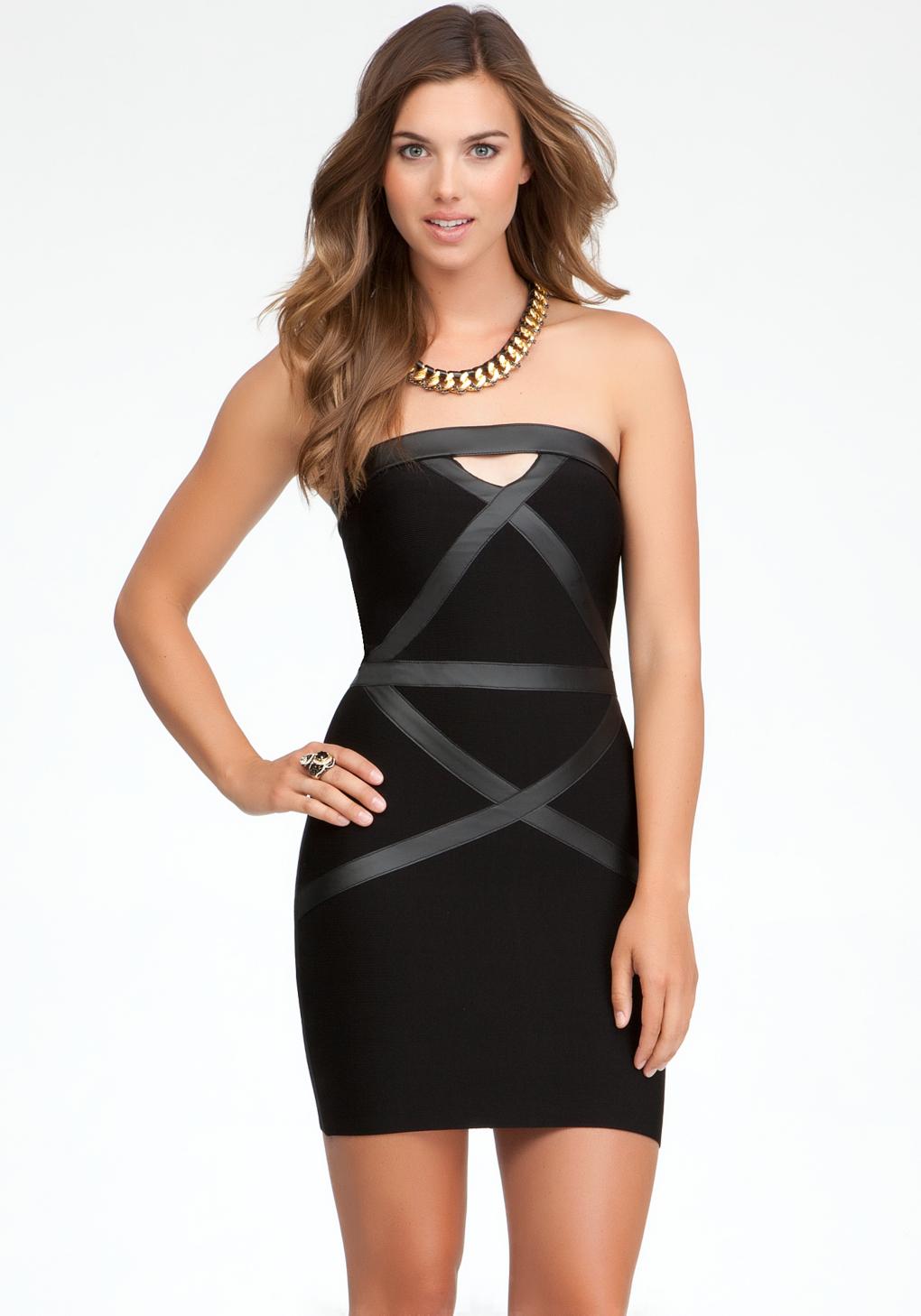 Lyst Bebe Strapless Leatherette Bandage Dress In Black