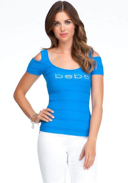 Bebe Logo Cold Shoulder Top In Blue Lyst