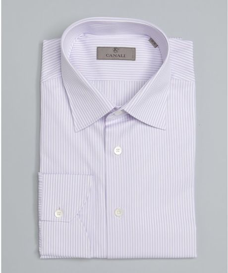 Canali light purple pinstripe cotton spread collar dress Light purple dress shirt men