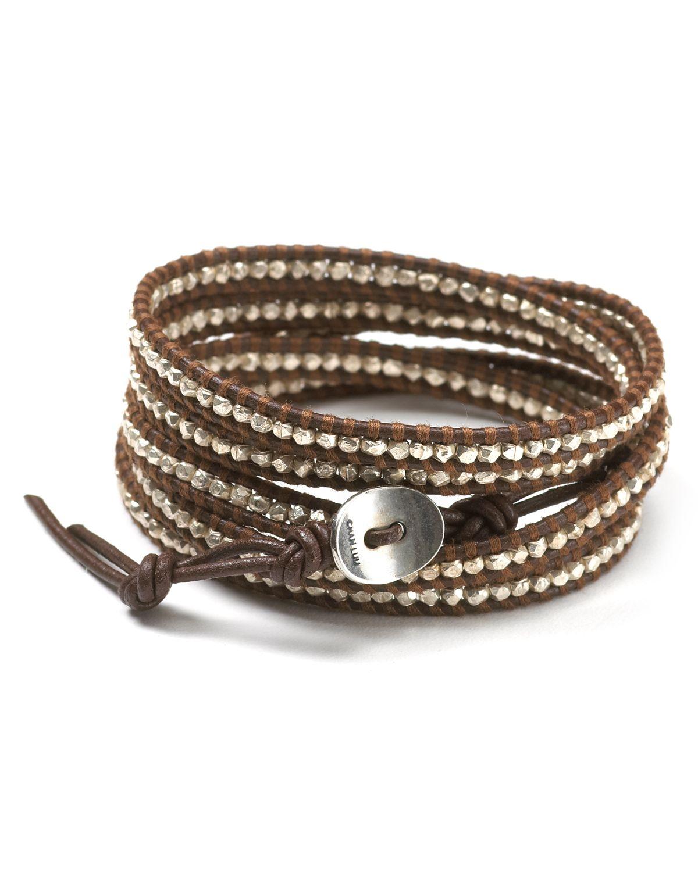 Sterling Silver Nugget Leather Wrap Bracelet