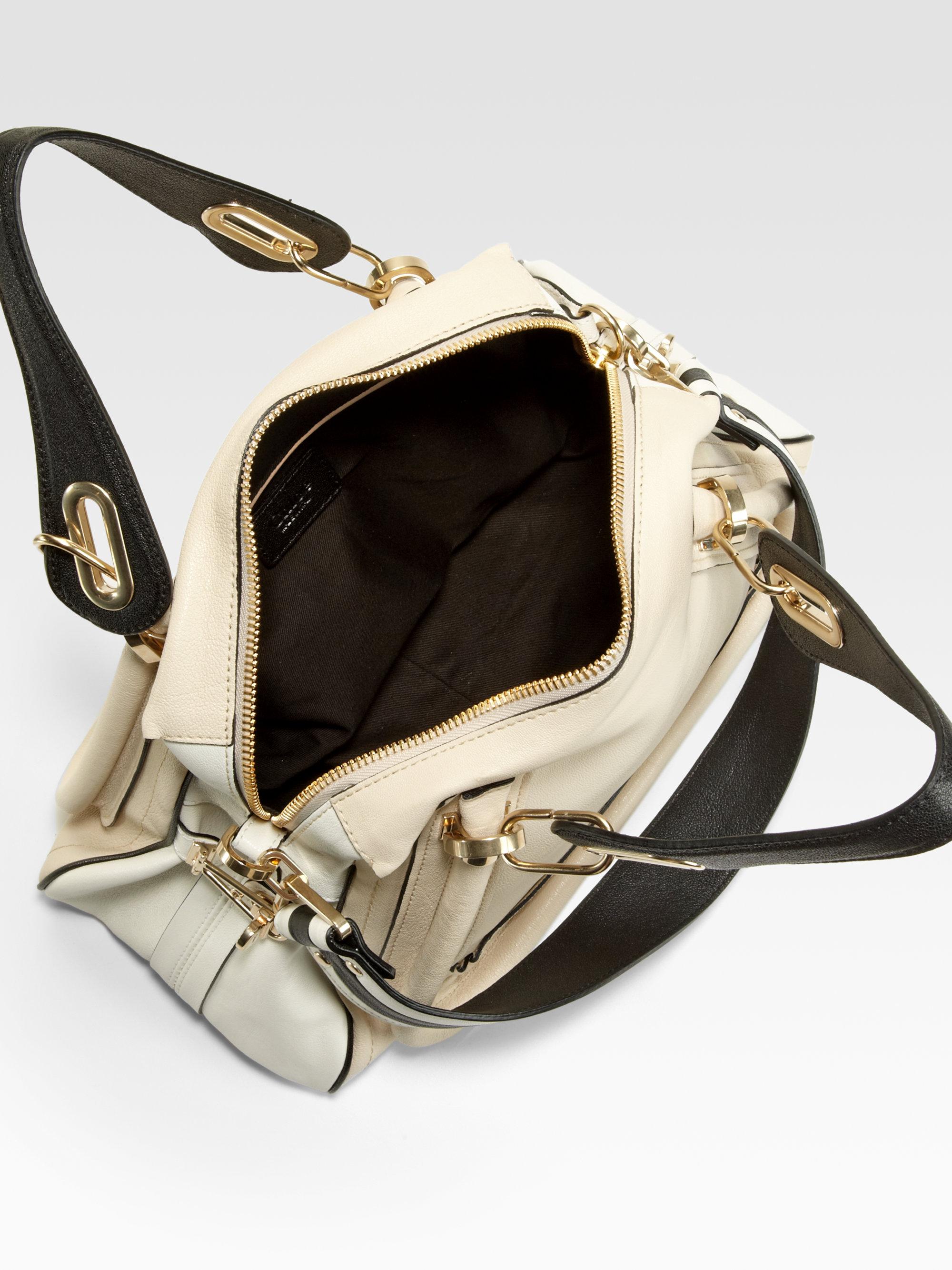 Chlo¨¦ Paraty Medium Military Shoulder Bag in Beige (WHITE BLACK ...
