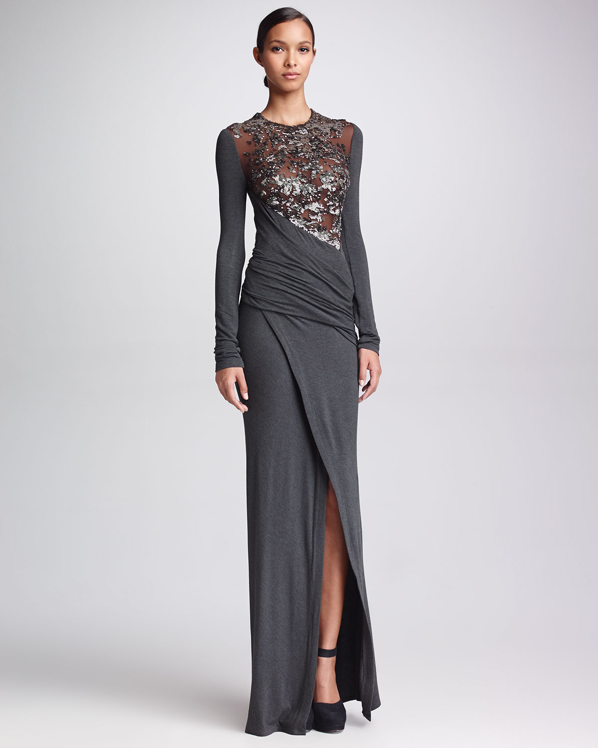 Lyst Donna Karan Long Sleeve Sequined Jersey Gown