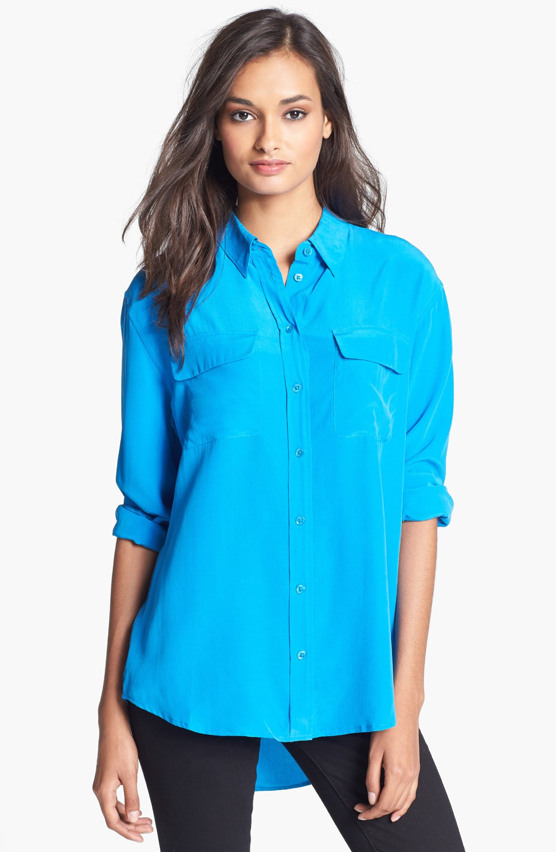 Lyst equipment signature silk shirt in blue for Equipment signature silk shirt