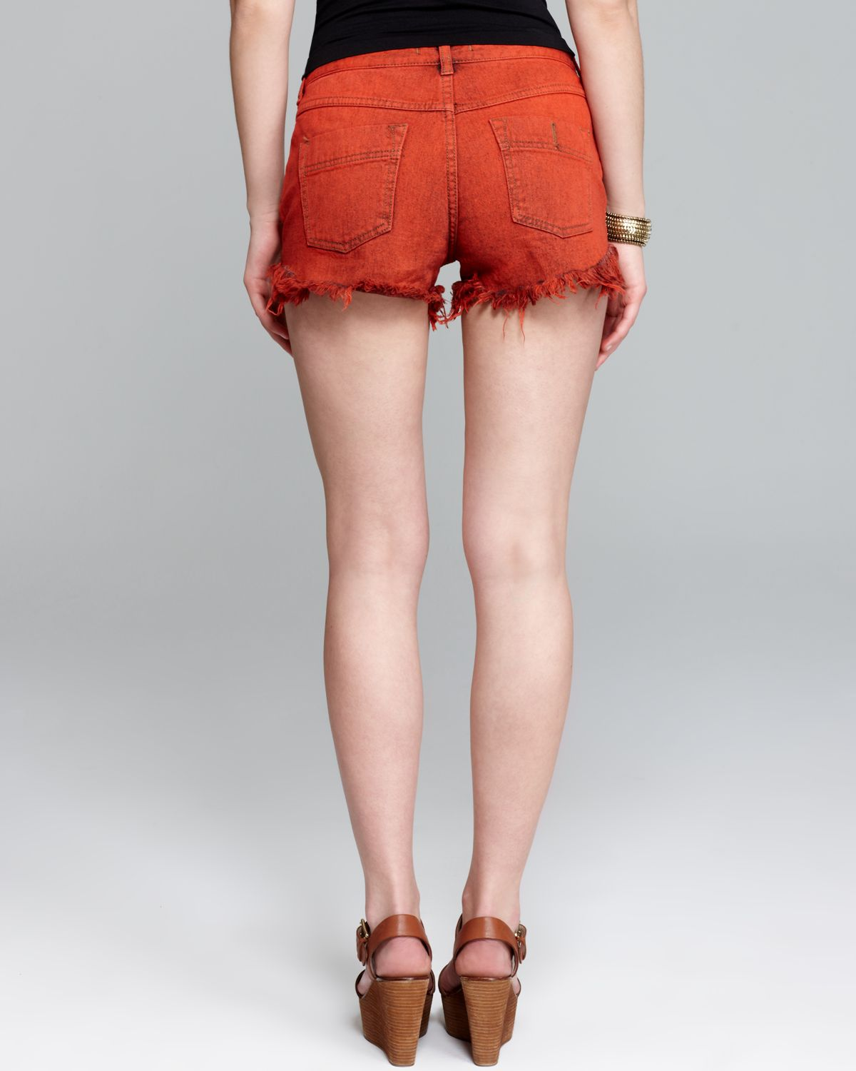 Free people Shorts Rugged Ripped Denim Cutoff in Sunrise Red in ...