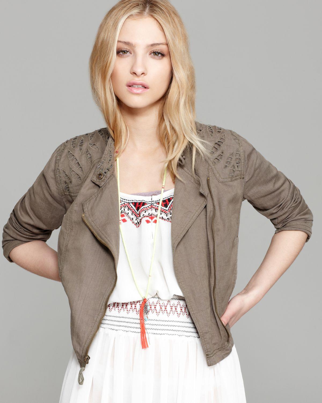 Lyst - Free People Jacket Linen Cutwork Moto in Gray 749297839