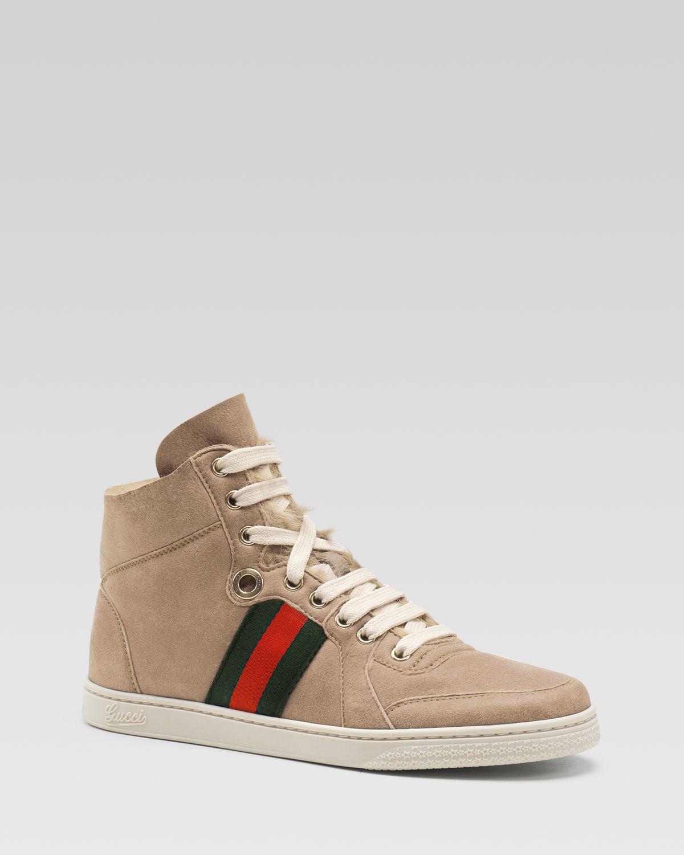 a3a043b8615 ... Lyst - Gucci Coda High Top Stripe Sneaker in Natural ...