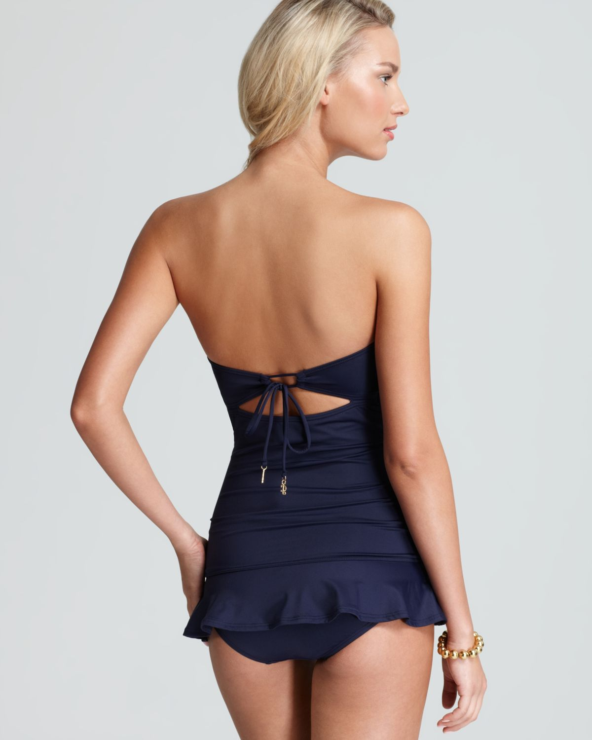 cdb43b0ed25c8 Juicy Couture Gold Link Bandeau Swimdress One Piece in Blue - Lyst