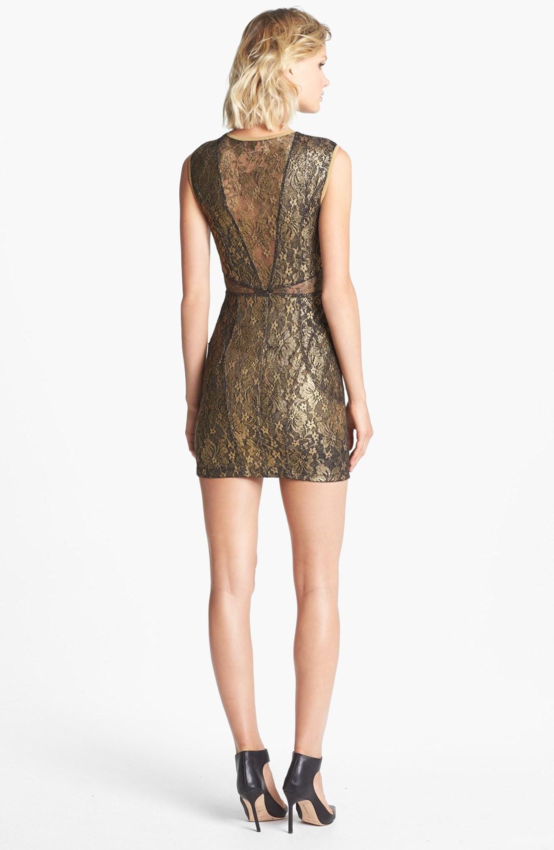Golden lace bodycon dress