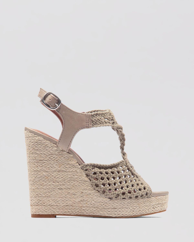3495c64eb5e Lucky Brand Wedge Platform Sandals Rilo Crochet in Black - Lyst