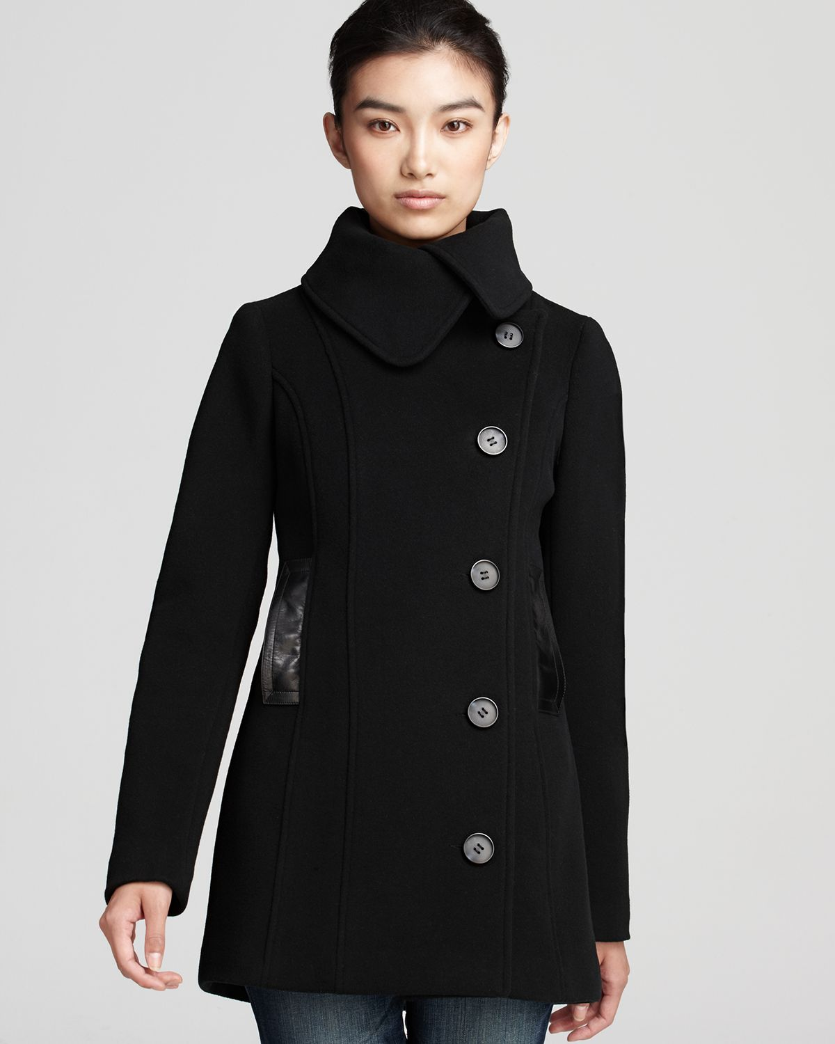 Mackage Effie Double Breasted Pea Coat with Leather Trim in Black ...