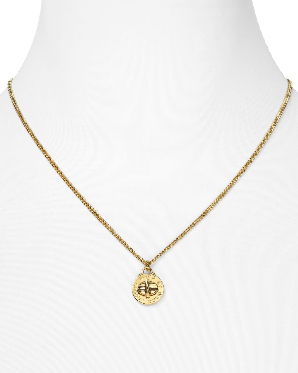 Lyst Marc By Marc Jacobs Turnlock Pendant Necklace 17 5
