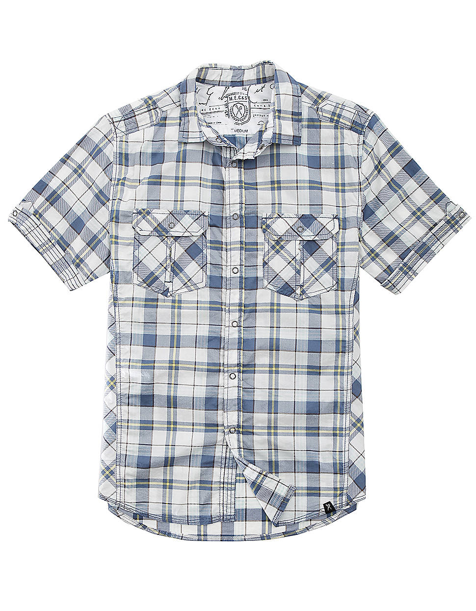 Marc ecko brainpower plaid sport shirt in blue for men for Marc ecko dress shirts