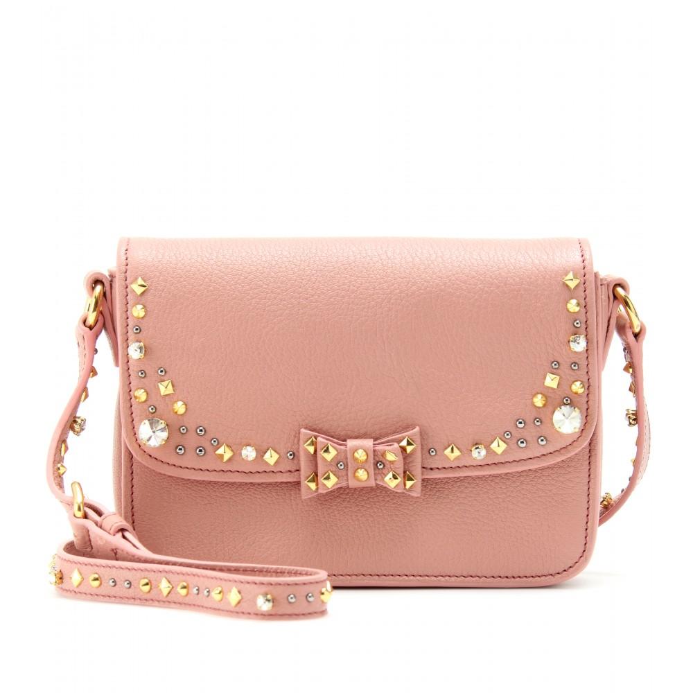 Miu miu Embellished Leather Shoulder Bag in Pink | Lyst