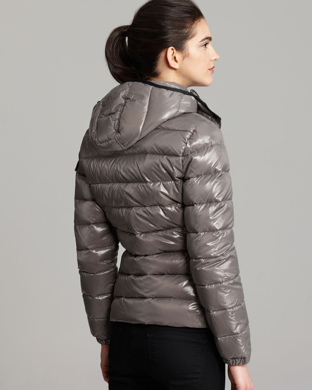 436e0cd2756d Lyst - Moncler Bady Lacquer Hooded Short Down Coat in Gray