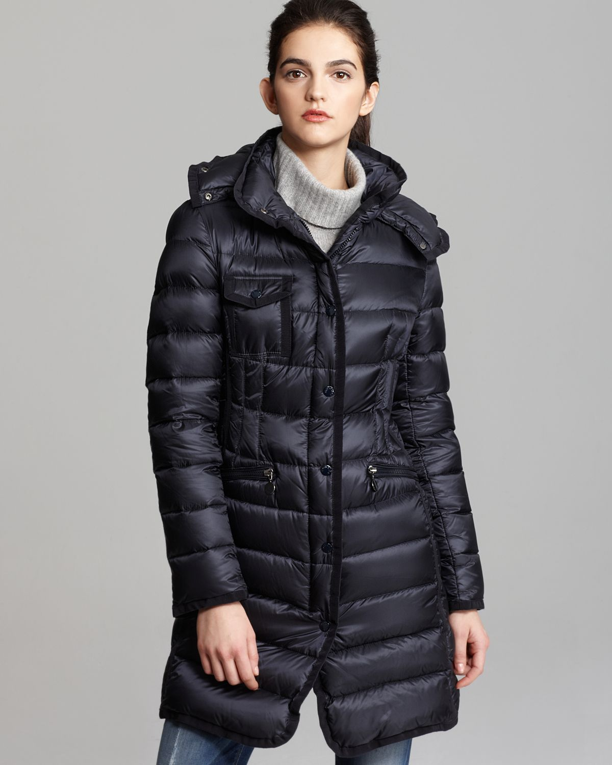 5f708b427 Moncler Blue Hermine Collar Down Coat