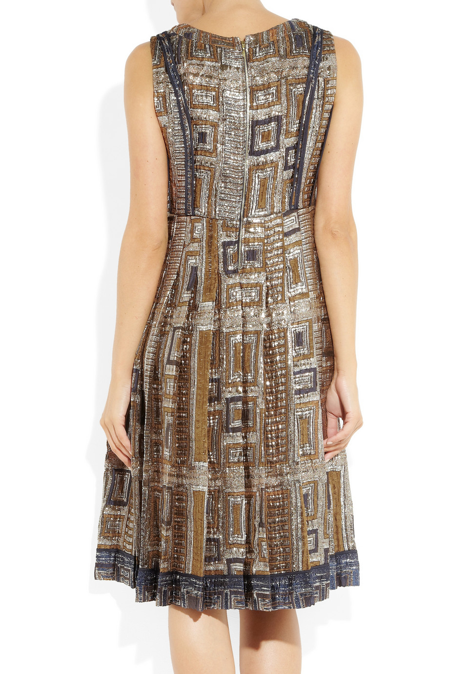 Rochas Silk Metallic Brocade Dress In Light Brown Blue