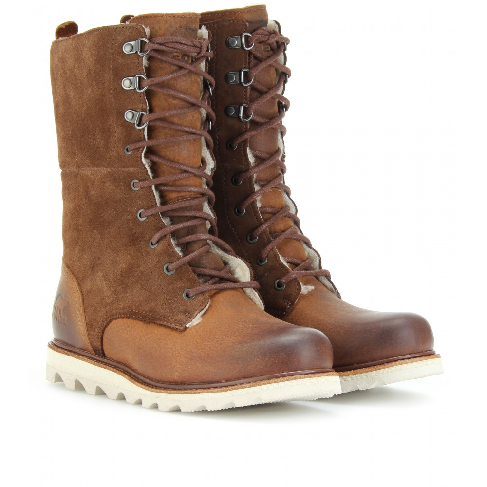 sorel wicked work shearling lined boots in brown lyst