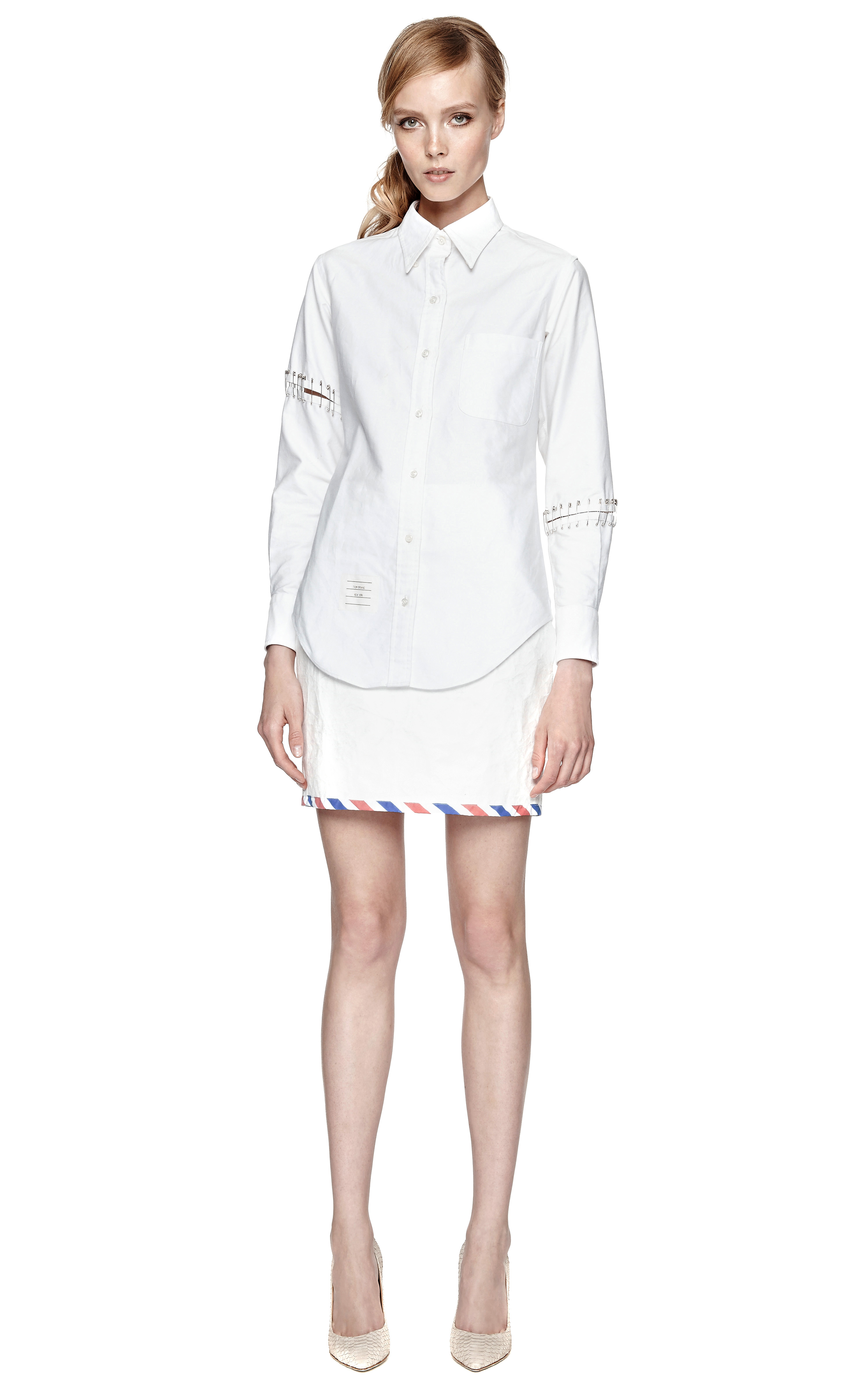 Thom browne oxford armed shirt in white lyst for Thom browne white shirt