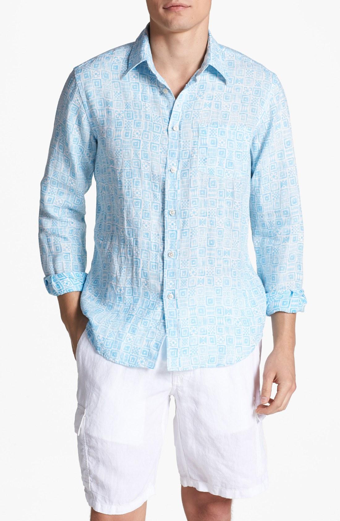 Lyst vilebrequin print linen shirt in blue for men for Mens light blue linen shirt