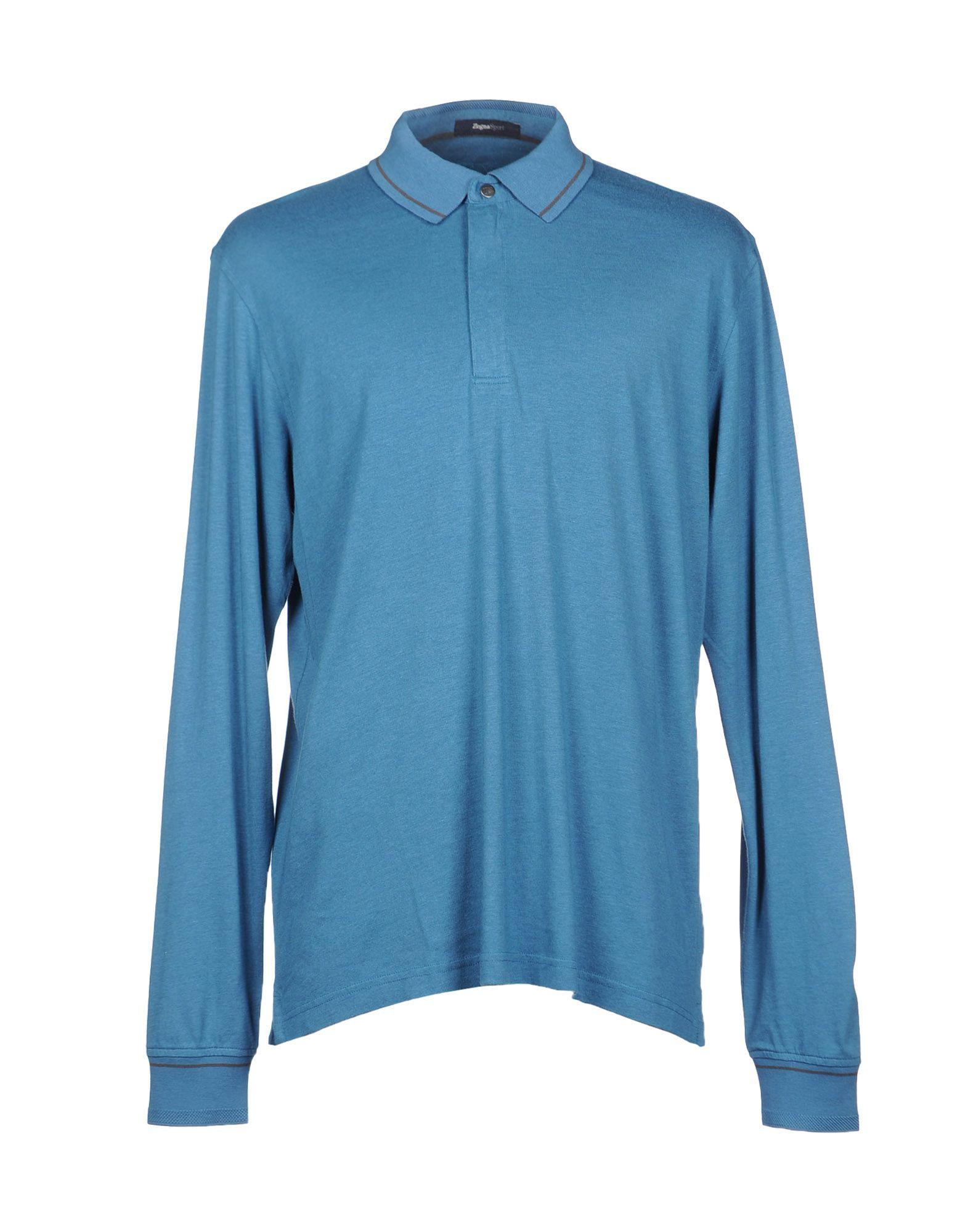 Zegna sport polo shirt in blue for men pastel blue for Zegna polo shirts sale