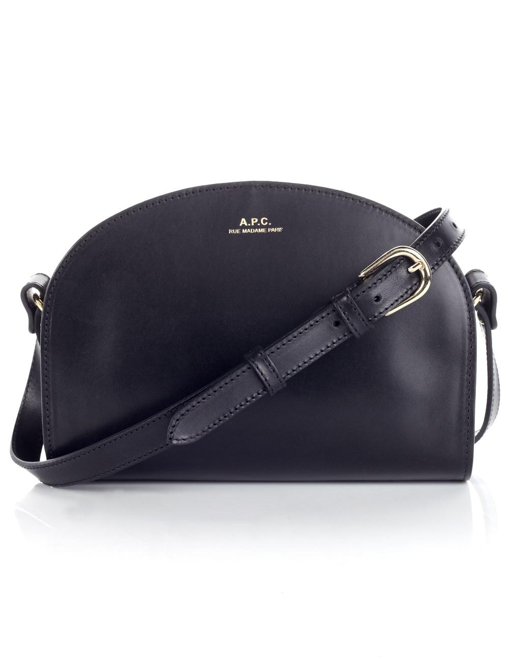 a p c black leather half moon bag in black lyst. Black Bedroom Furniture Sets. Home Design Ideas