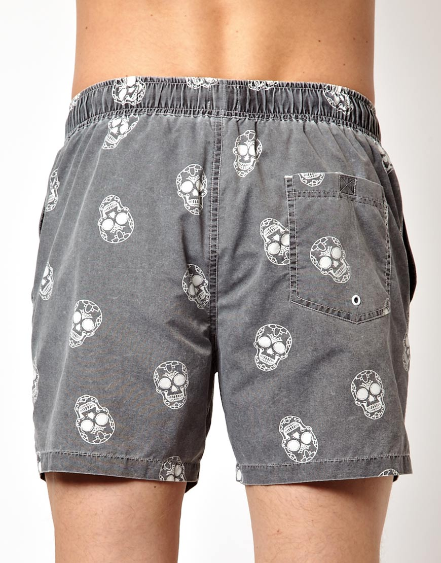 c73af89f53 ASOS Swim Shorts with Skull Print in Gray for Men - Lyst