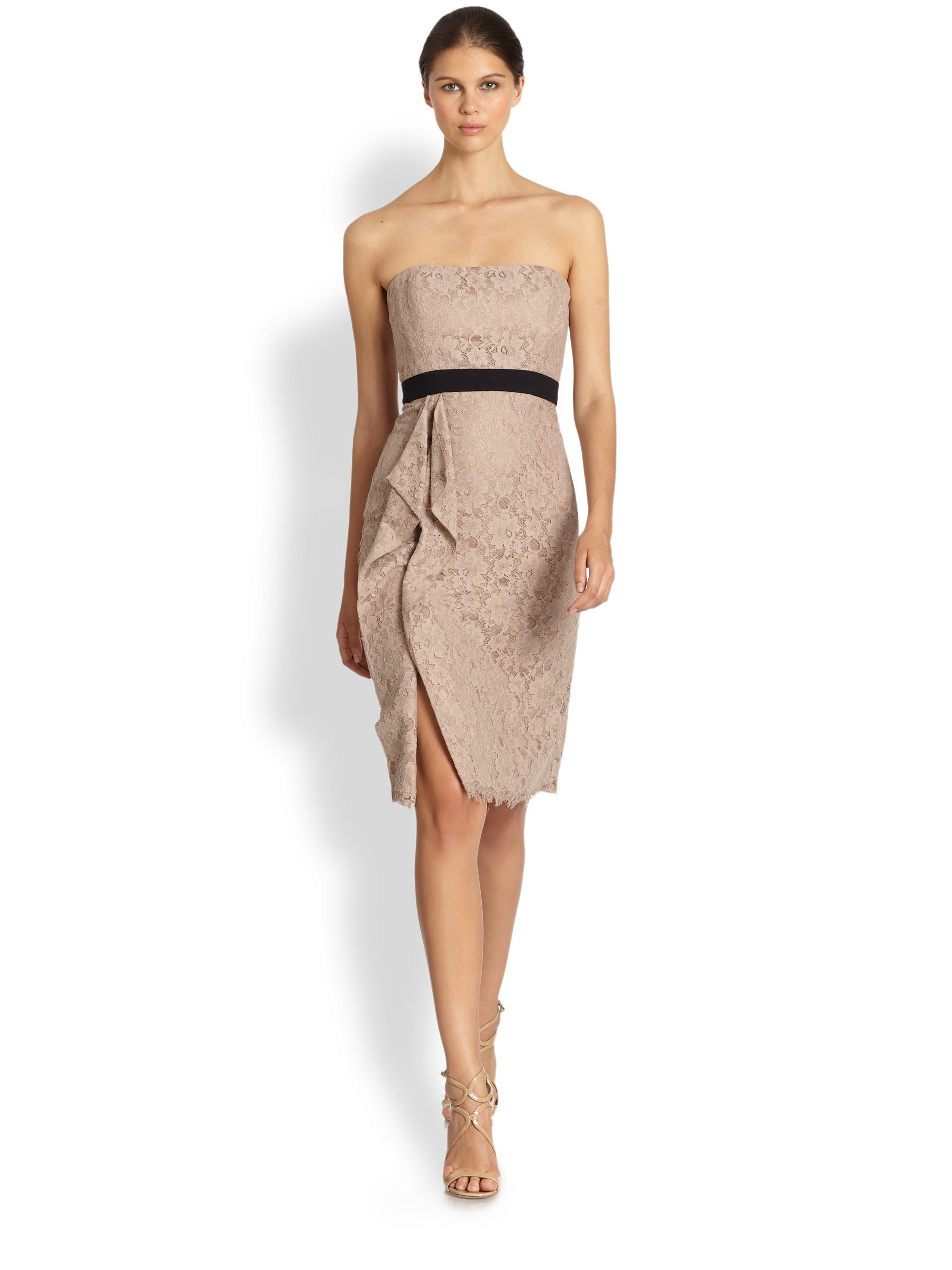 Bcbgmaxazria Alexandra Strapless Lace Dress in Natural | Lyst