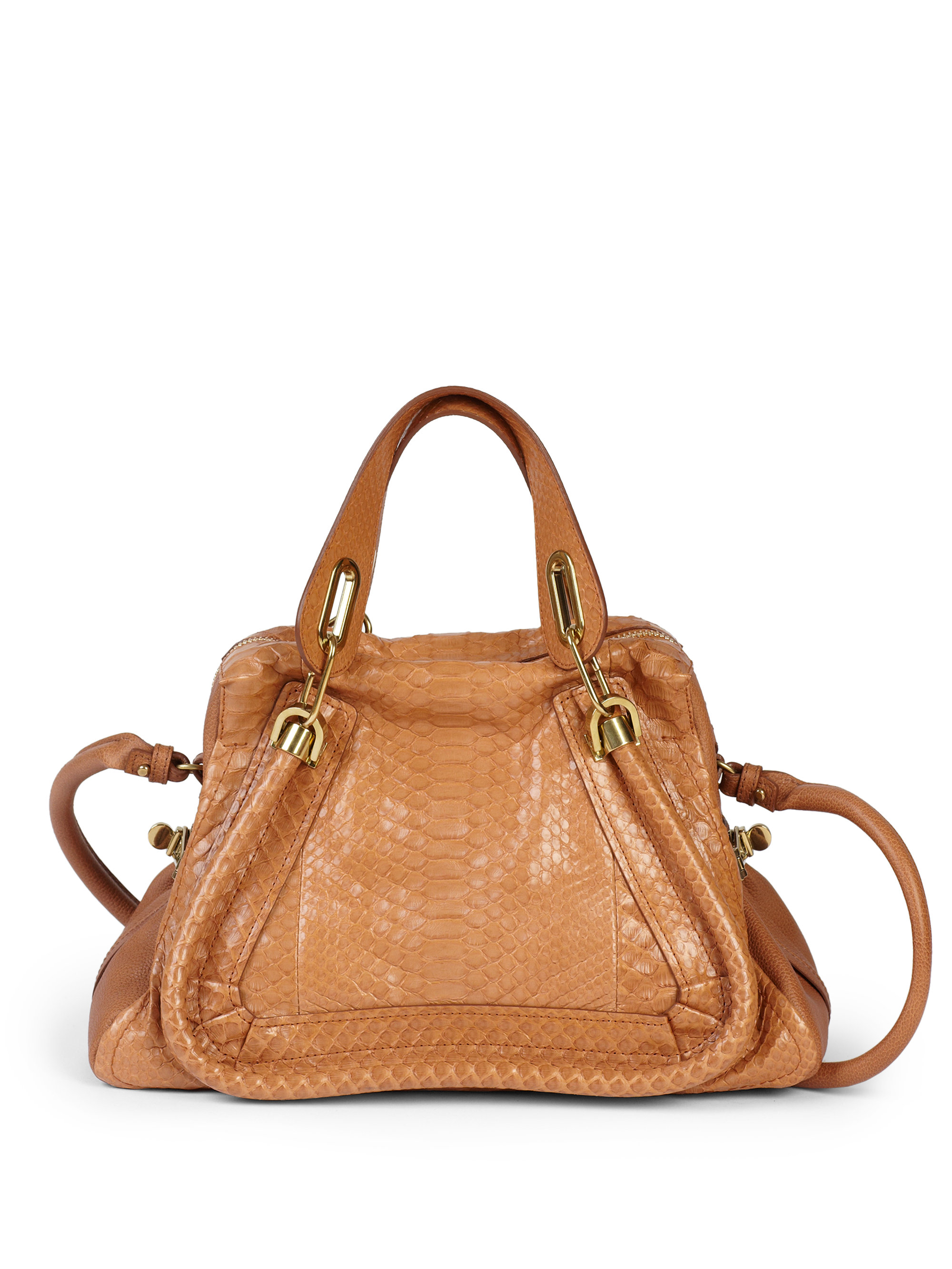 Chlo¨¦ Paraty Medium Python Tote in Brown (SPECULOOS BROWN) | Lyst