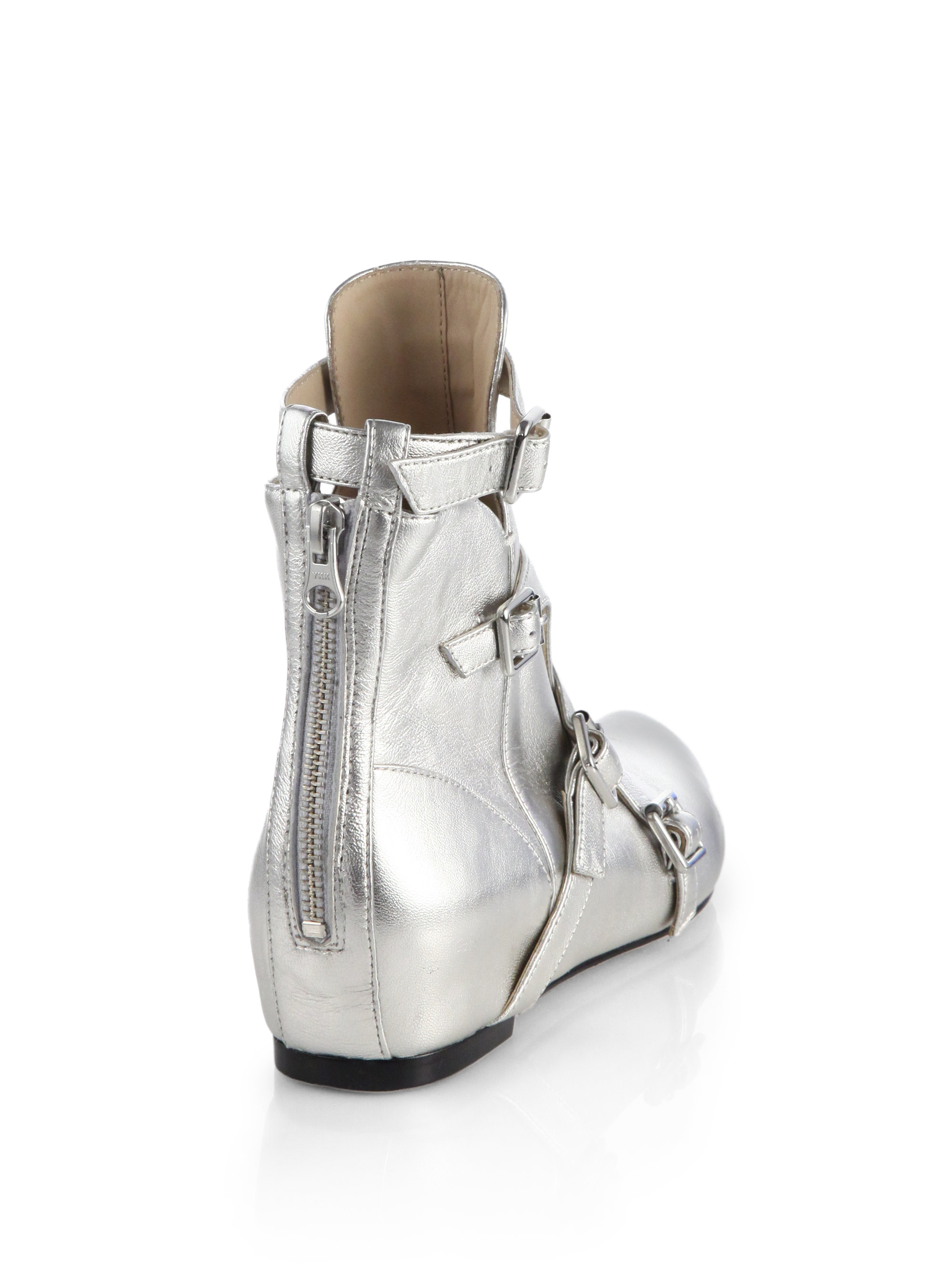 Elizabeth and james Cosmo Metallic Leather Wedge Ankle Boots in ...