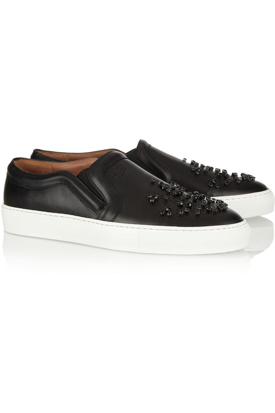 givenchy skate shoes in embellished black leather