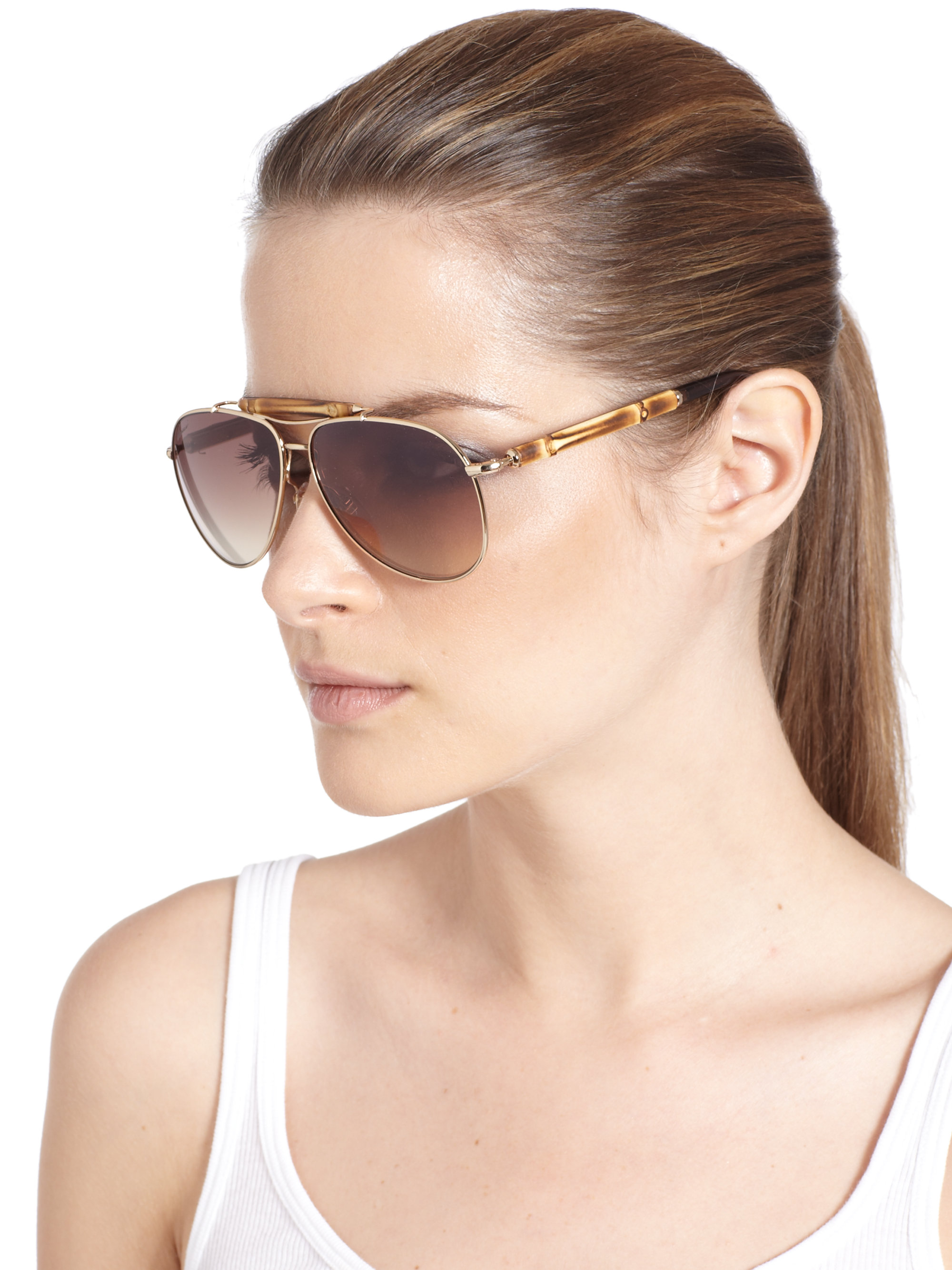 Gucci Sunglasses Bamboo Frame  gucci bamboo aviator sunglasses in metallic lyst
