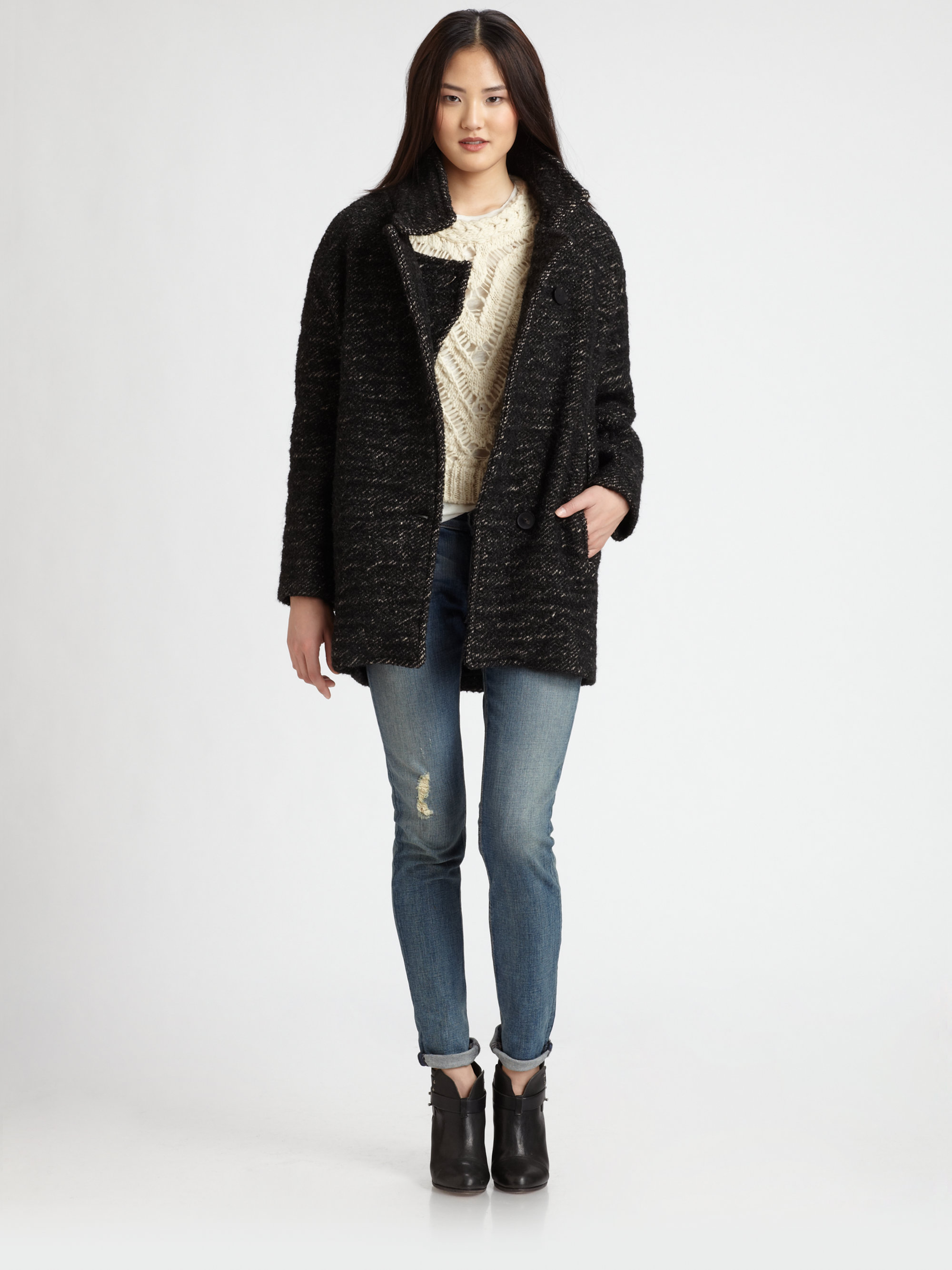 Iro Lanila Oversized Tweed Coat in Black | Lyst