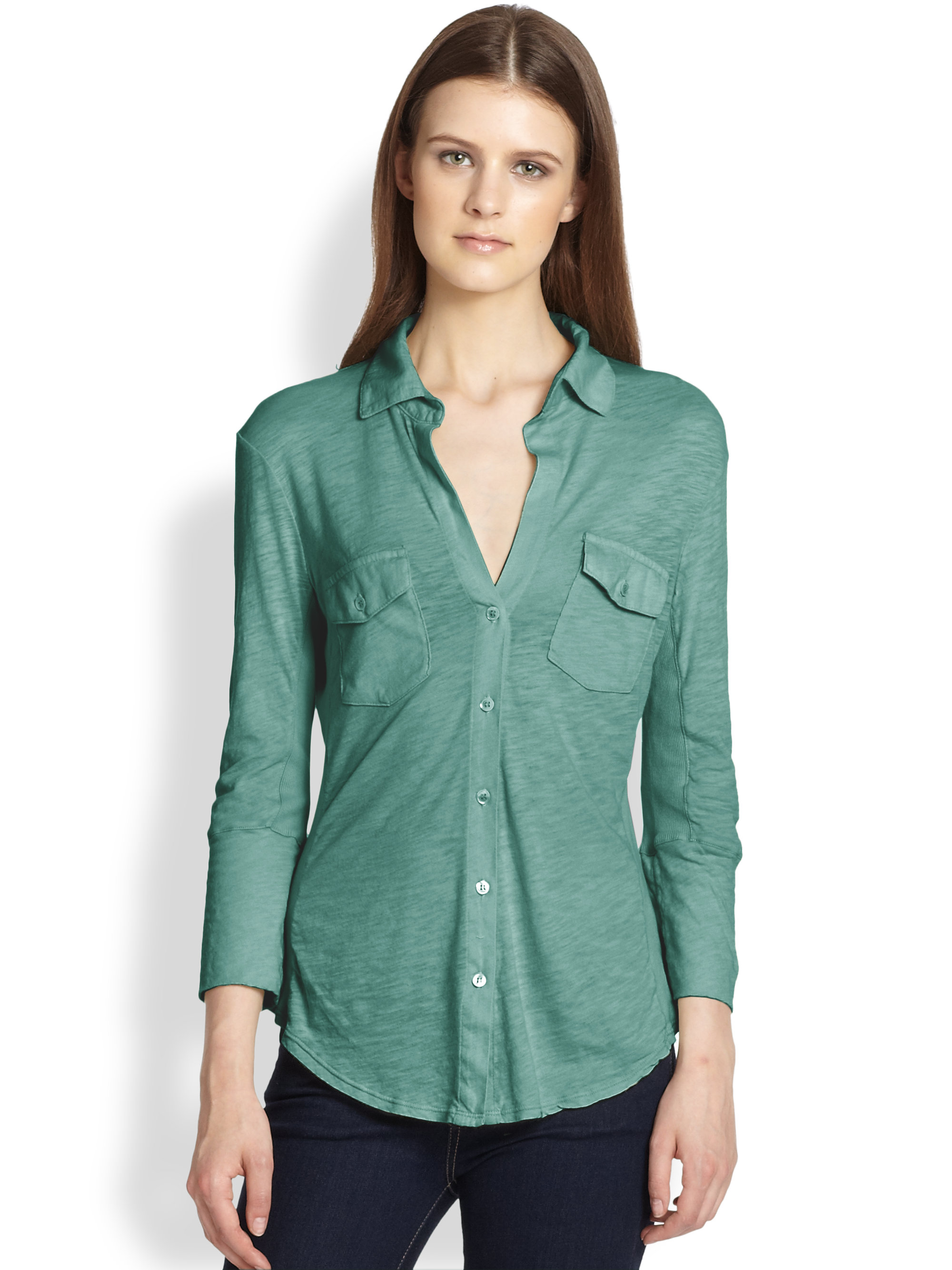 8212aeb23d6 James Perse Slub Cotton Jersey Button-front Shirt in Green - Lyst