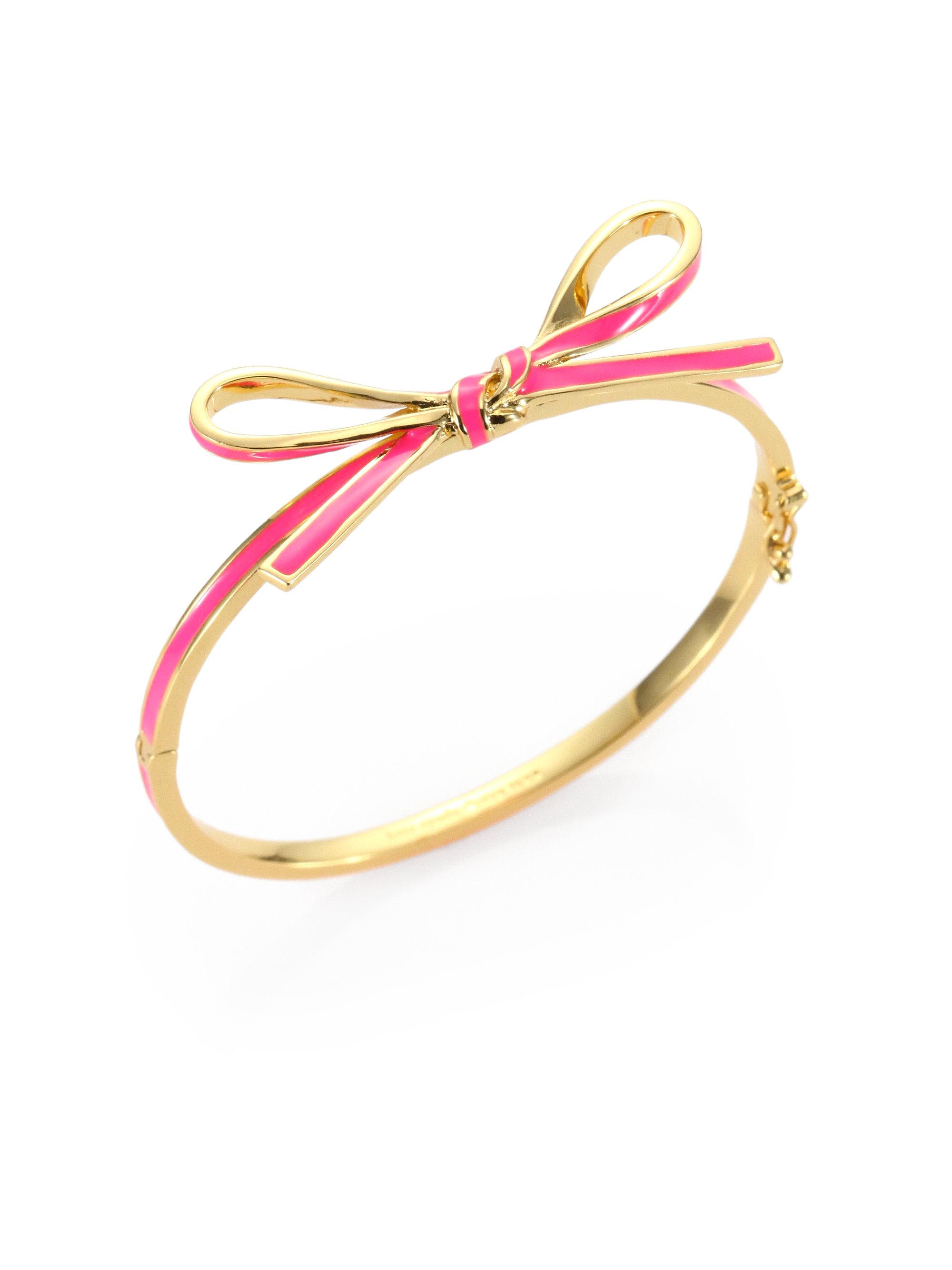 Kate Spade Skinny Mini Enamel Bow Bangle Bracelet In Pink