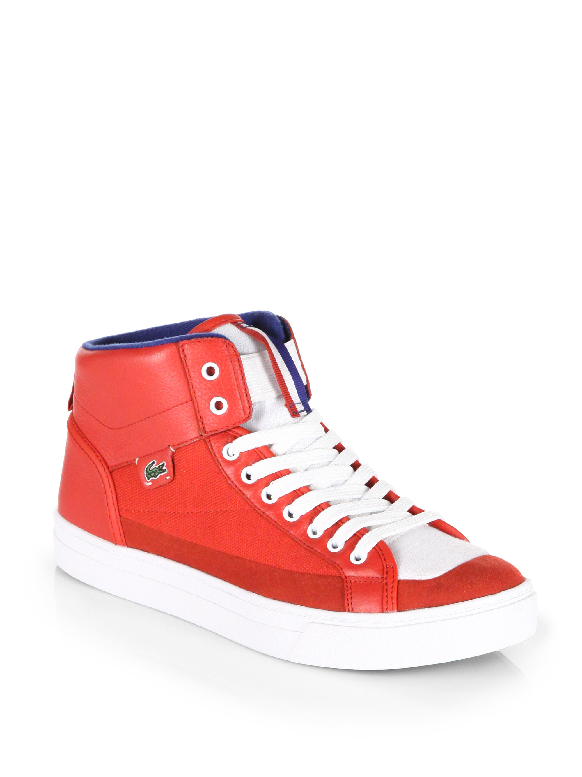 lacoste berrick mid high top sneakers in red for men lyst