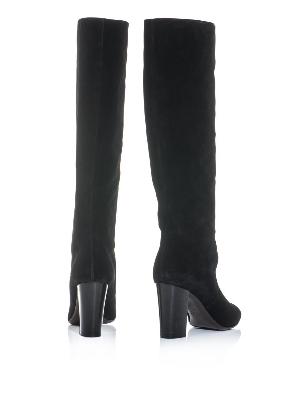 Black Suede Knee High Heel Boots