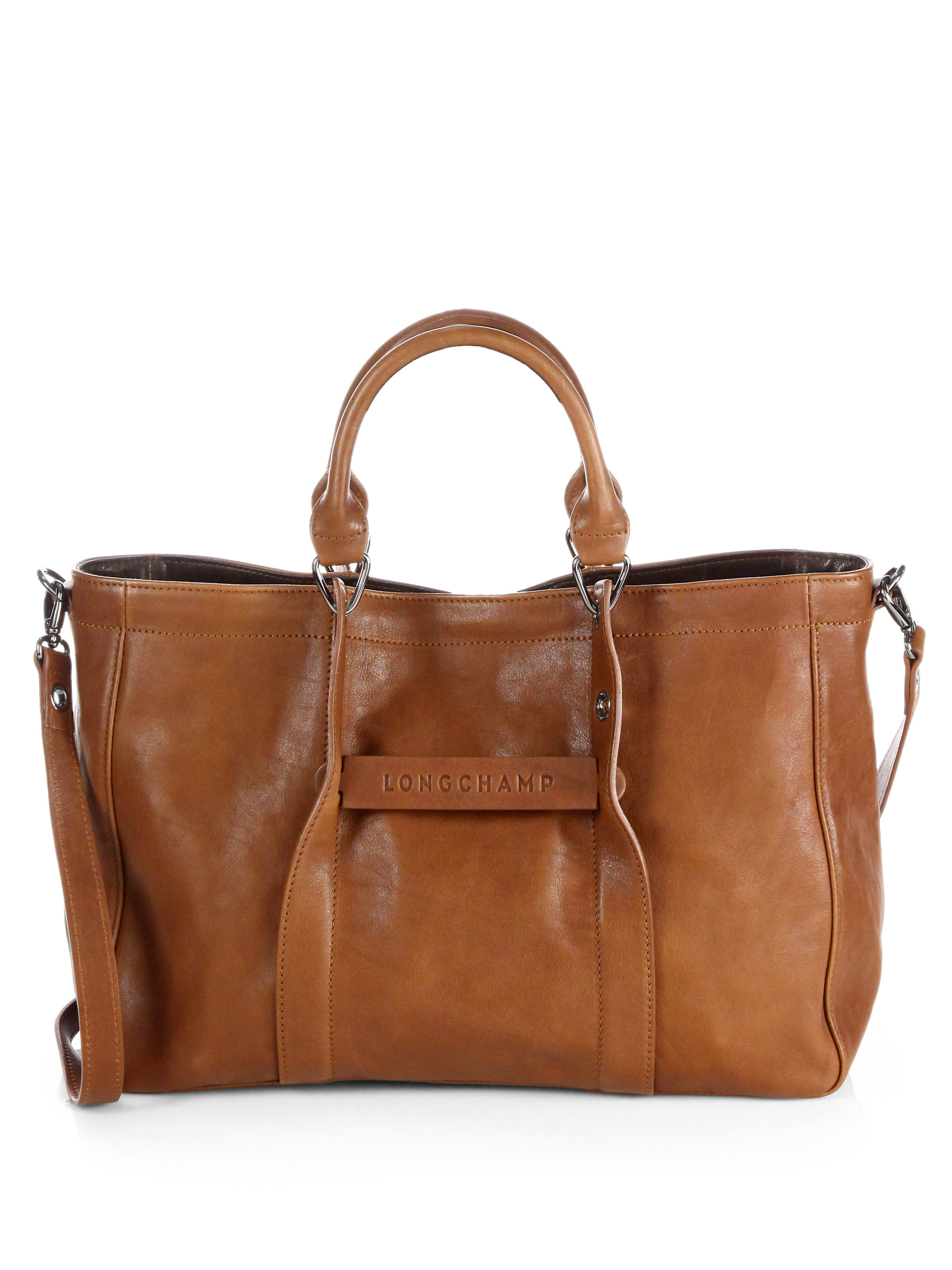 longchamp small leather tote bag in brown cognac lyst. Black Bedroom Furniture Sets. Home Design Ideas