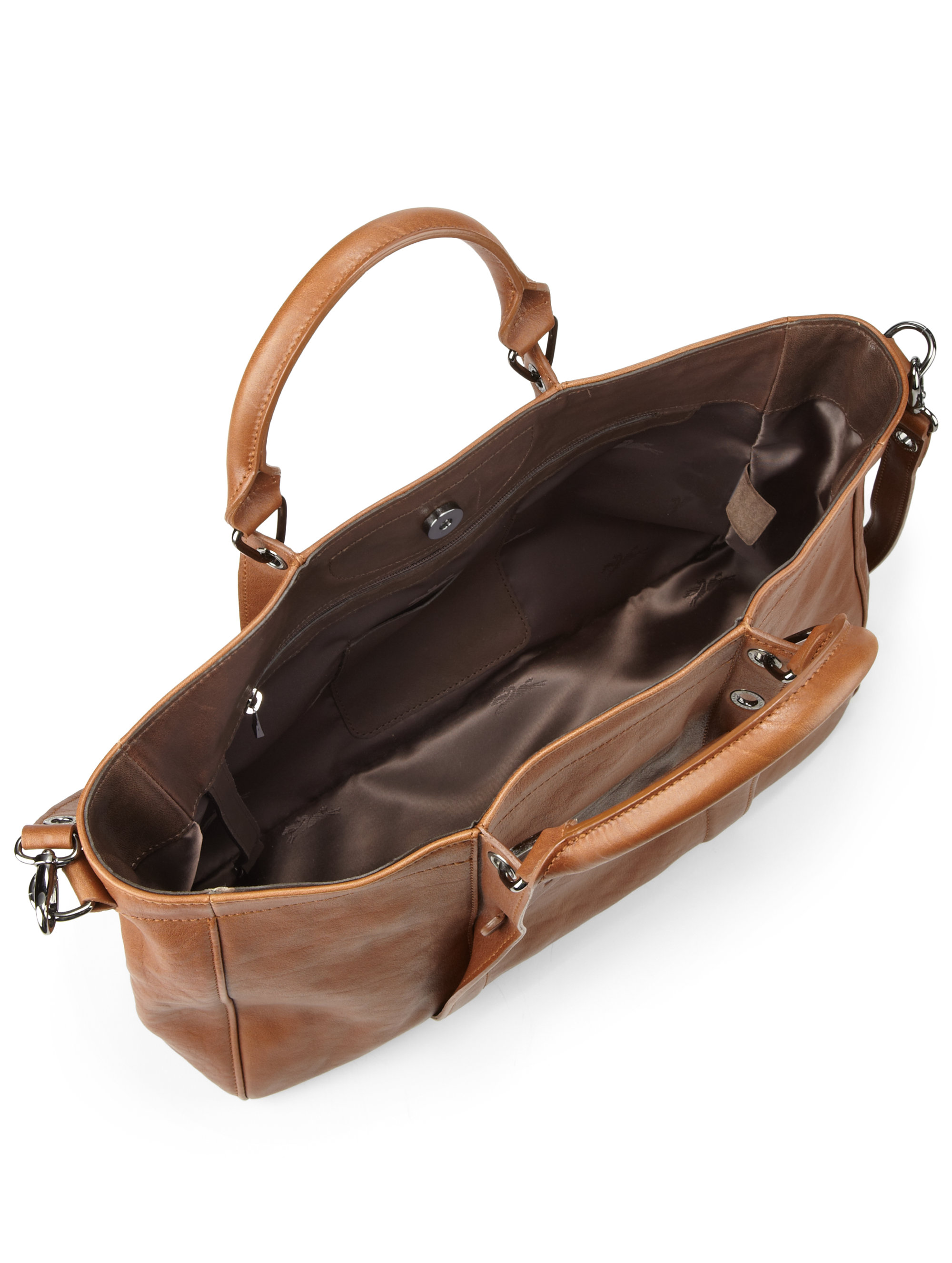Longchamp Small Leather Tote Bag in Brown | Lyst