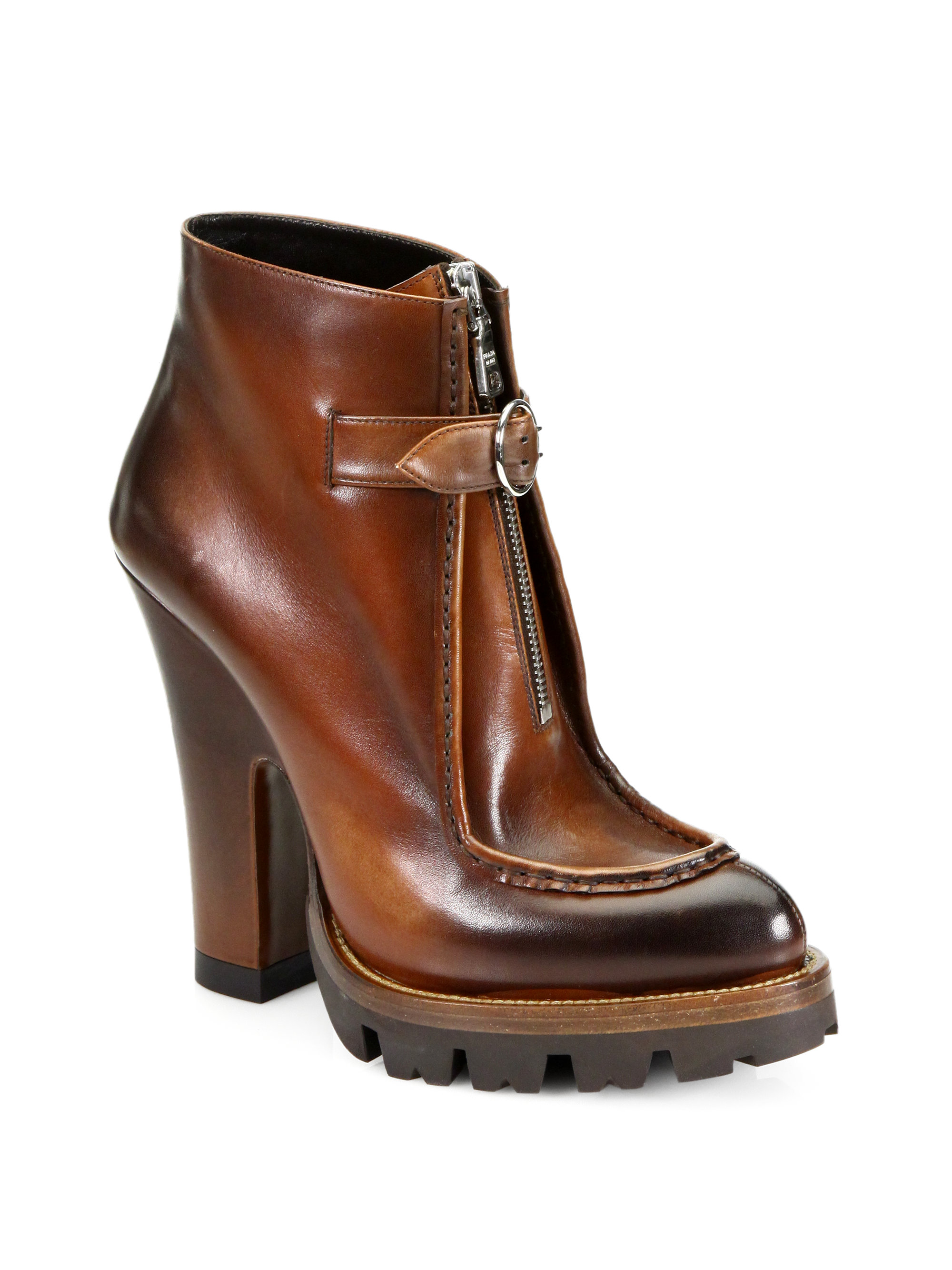 prada leather zipperdetail platform ankle boots in brown