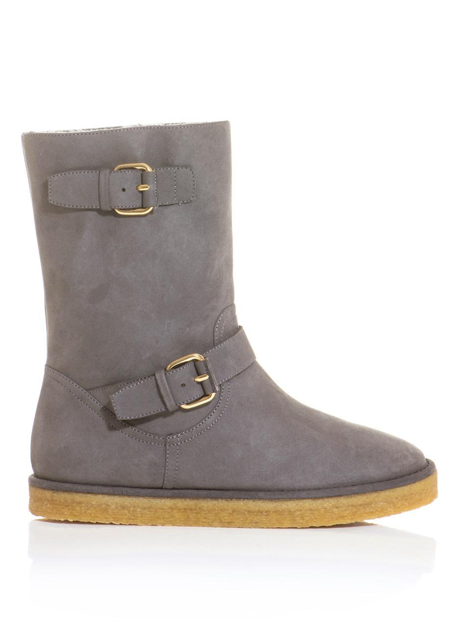 Lyst Stella Mccartney Harper Faux Suede Boots In Gray