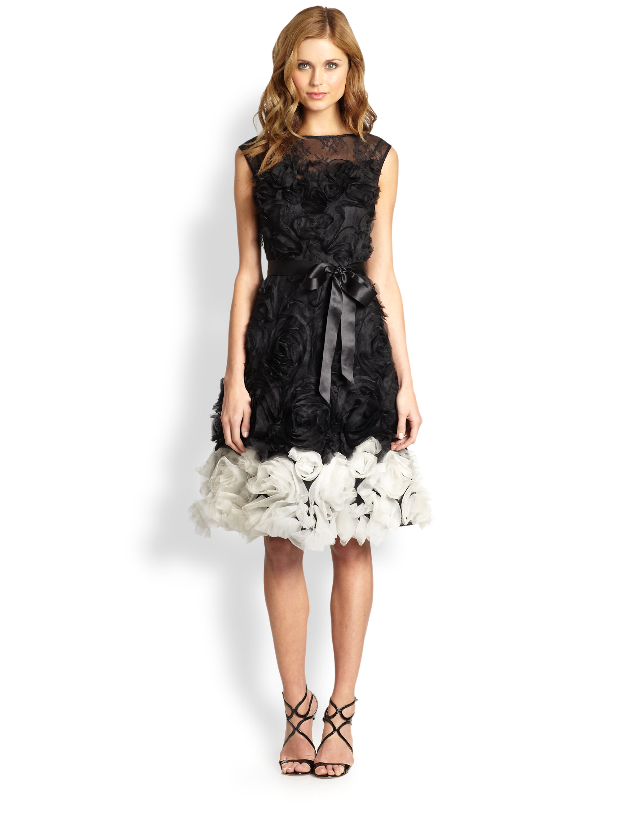 Teri Jon Rosette Skirted Dress In Black White Black Lyst